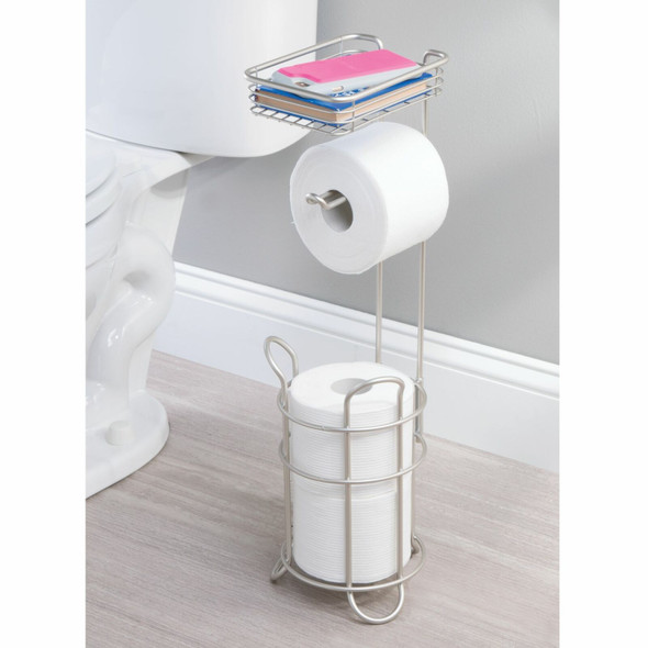 Toilet Tissue Paper-Roll Dispenser & Storage Shelf