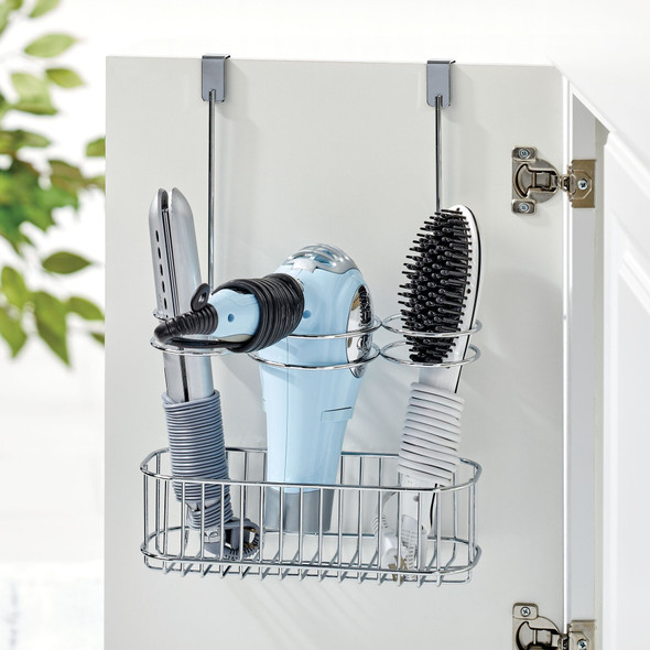 Metal Over Cabinet Hair Care Tool Holder Storage Basket