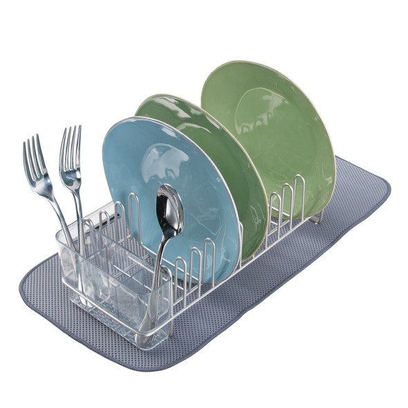 Small Kitchen Sink Dish Rack and Drying Mat Combo