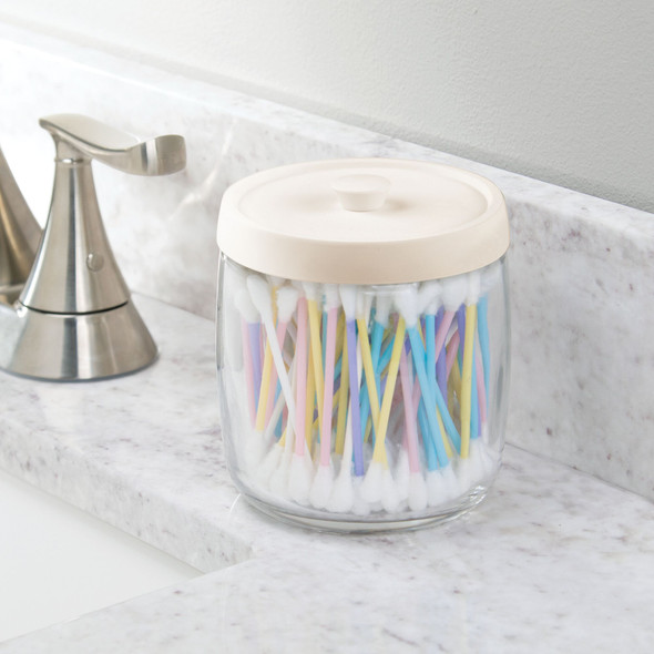 Round Glass Bathroom Vanity Storage Canister Jar with Color Lid