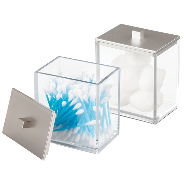 Square Plastic Bathroom Vanity Storage Canister Jar - Pack of 2