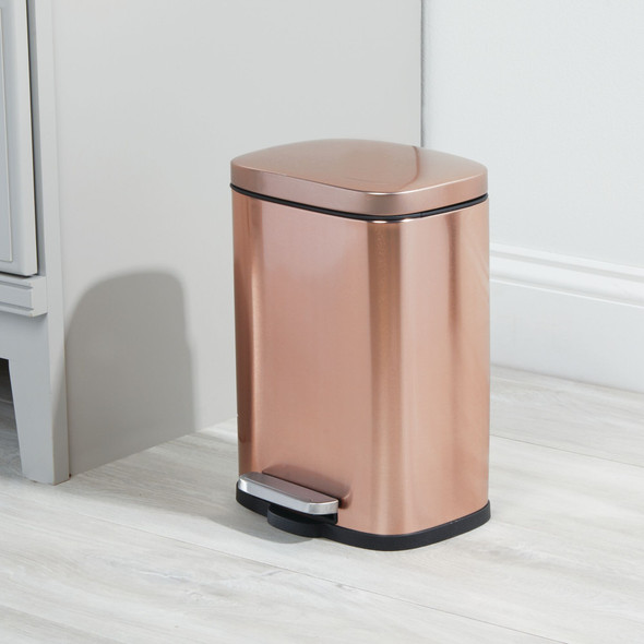 Metal Step Trash Can for Bathroom Storage - 1.3 Gallon Capacity