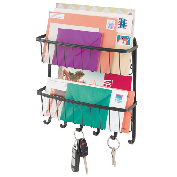 2-Tier Wall Mount Entryway Key Rack and Mail Sorter