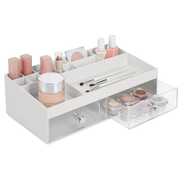 2 Drawer Wide Plastic Makeup Cosmetic Storage Caddy