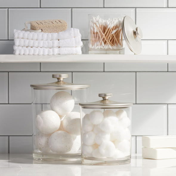 Plastic Bathroom Vanity Storage Canister Jars - Set of 3