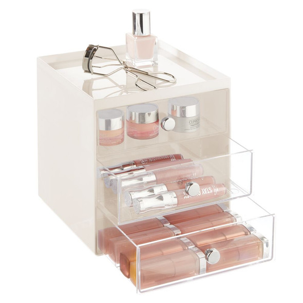 3 Drawer Stackable Plastic Makeup Cosmetic Storage Organizer