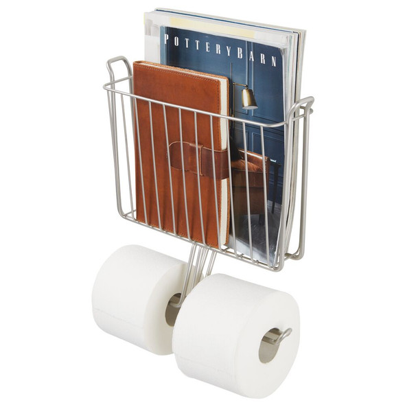 Wall Mount Magazine Rack & Toilet Paper Roll Holder