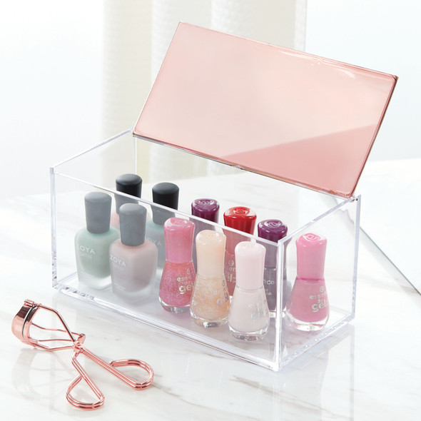 "Makeup Cosmetic Storage Organizer with Lid - 8"" x 4"" x 4"""