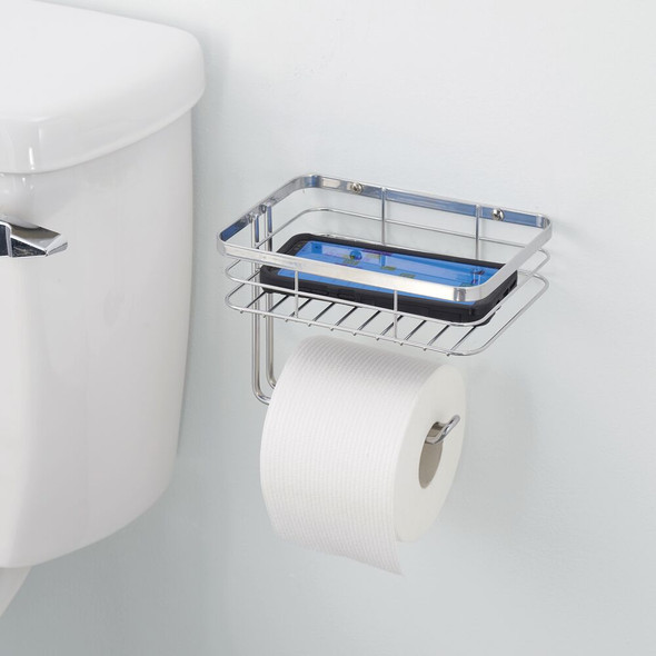 Wall Mount Toilet Tissue Paper Roll Dispenser With Shelf