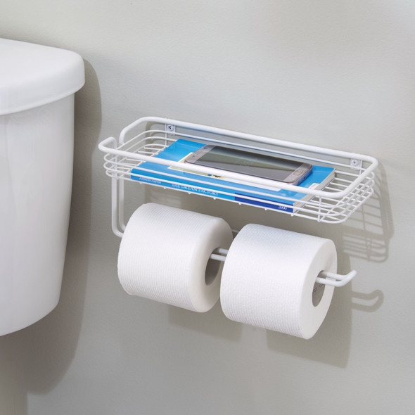 Wall Mount Toilet Tissue Paper Roll Dispenser & Shelf