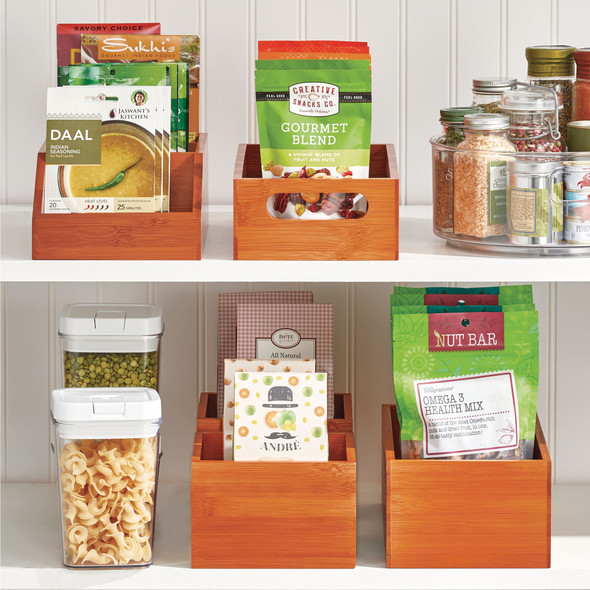 "Bamboo Pantry Storage Bin with Handles - 11.5"" x 6"" x 3.5"""