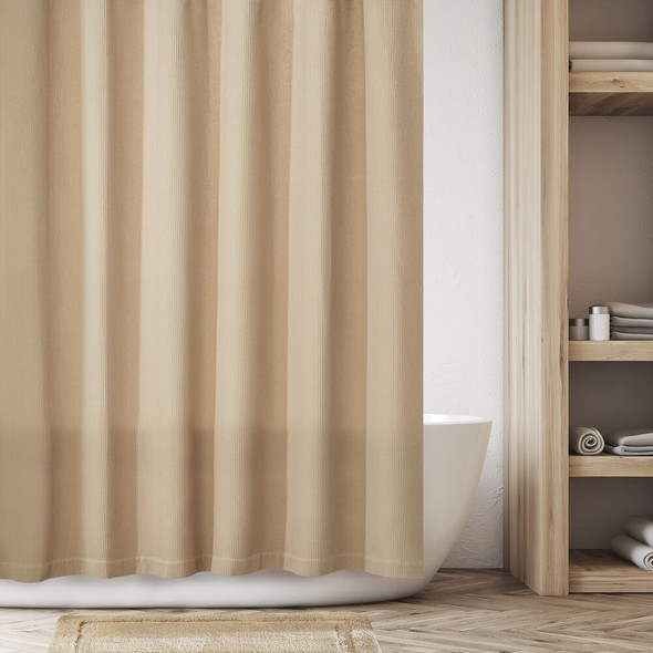 "Stall Size Waffle Weave Cotton Shower Curtain - 54"" x 78"""