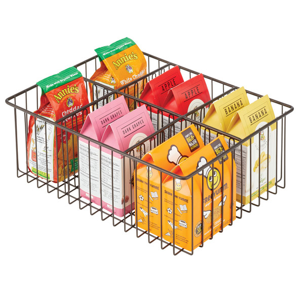 """Metal Wire Pantry Storage Bin with 6 Sections - 16"""" x 12"""" x 5.9"""""""