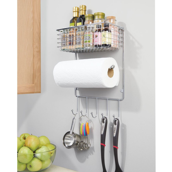 Metal Wall Mount Paper Towel Holder with Storage Shelf