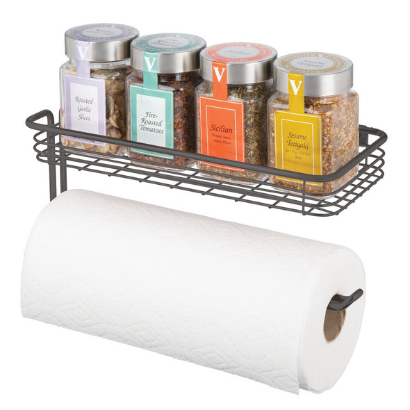 Metal Wall Mount Paper Towel Holder with Storage Tray