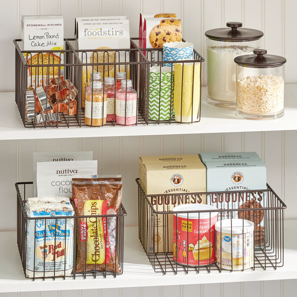 """Metal Wire Pantry Storage Bin with 3 Sections - 12"""" x 9.1"""" x 5.9"""""""