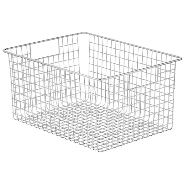 Wide Metal Wire Kitchen Pantry Food Storage Basket with Handles