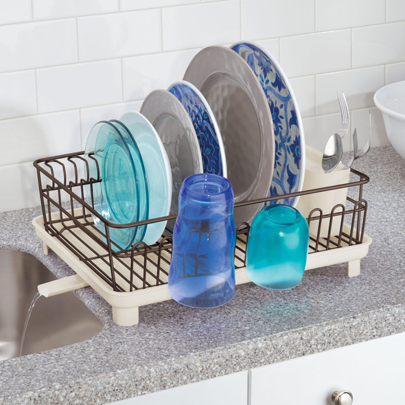 Large Kitchen Sink Dish Drying Rack with Swivel Spout and Utensil Caddy