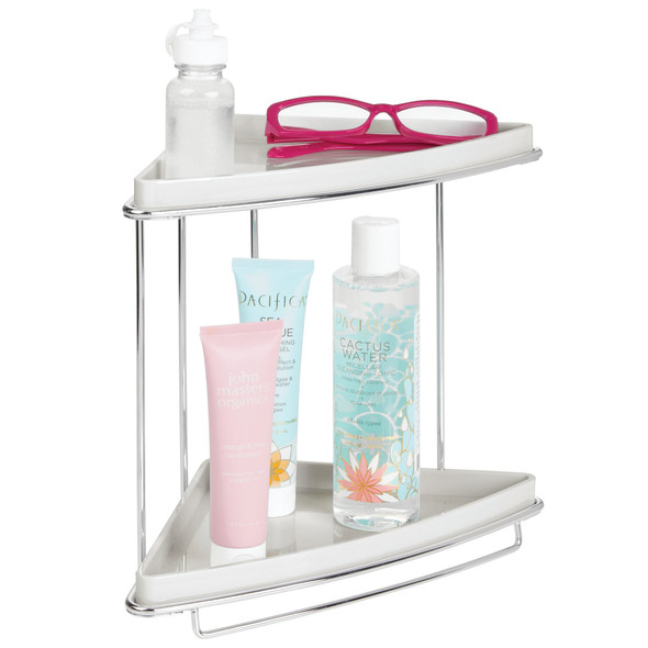 2 Tier Metal Bathroom Vanity Corner Storage Caddy