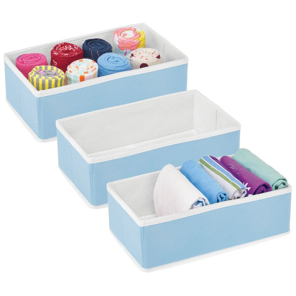 Fabric Drawer Organizer for Dresser and Closet Storage - Pack of 3