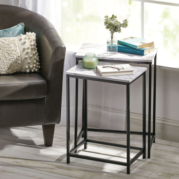 Metal and Wood Nesting End Tables - Set of 2