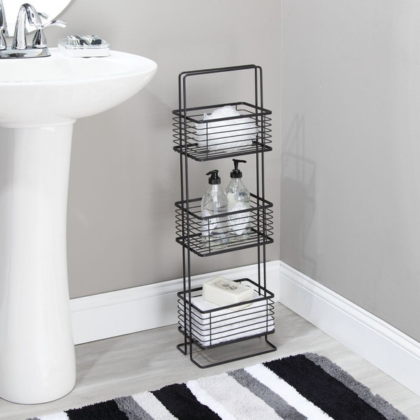 3 Tier Wire Free Standing Bathroom Storage Shelf