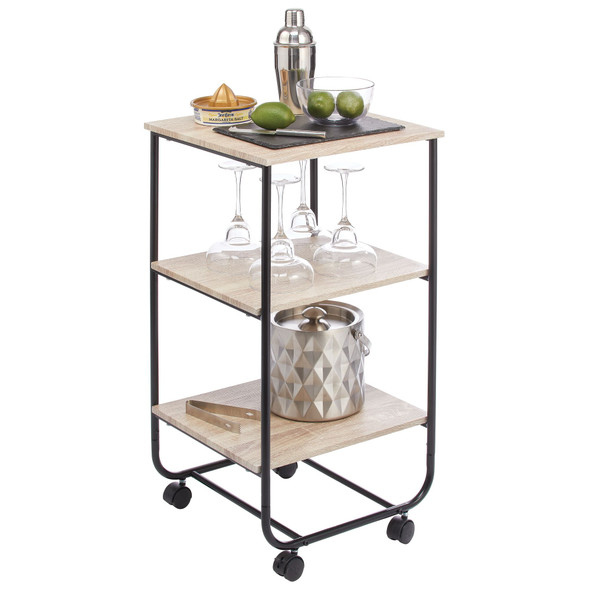 3 Tier Metal Rolling Household Storage Cart with Wood Accent