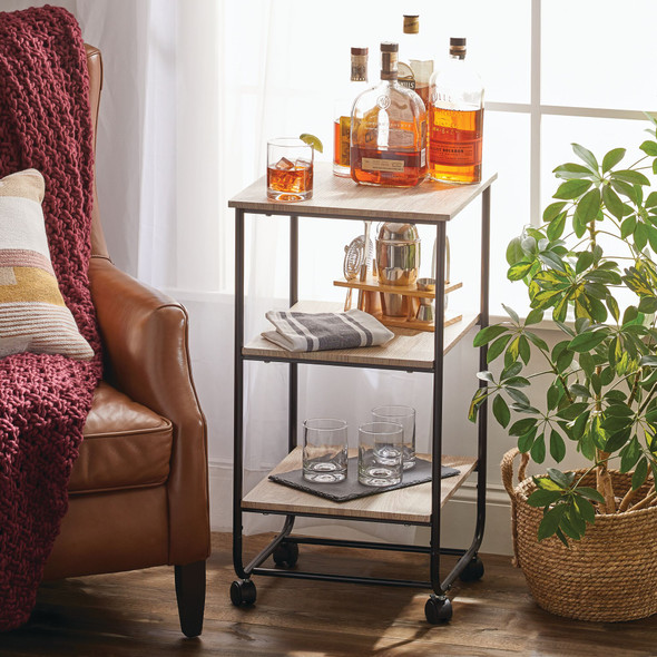 3 Tier Household Rolling Storage Cart with Accent Shelves