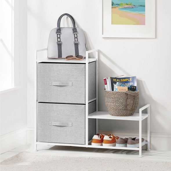 2 Drawer Storage Tower with Shoe Shelf - Fabric Drawers