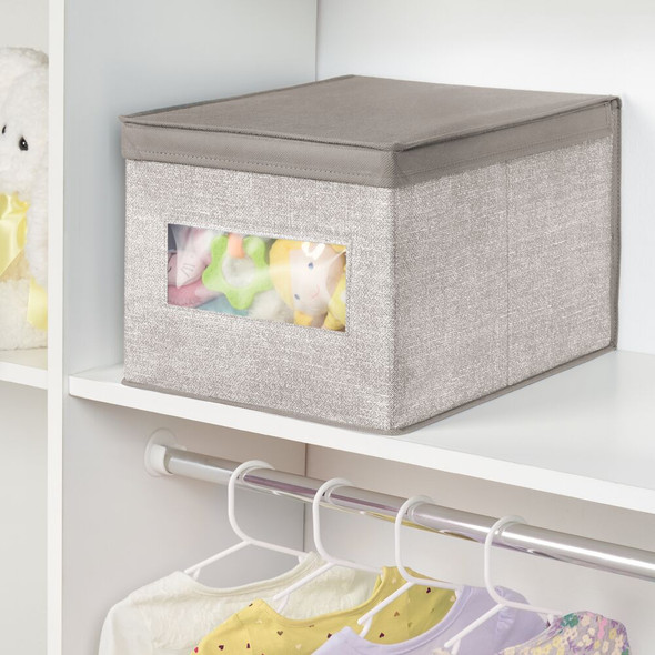 Stackable Fabric Closet Storage box with Lid - Pack of 6