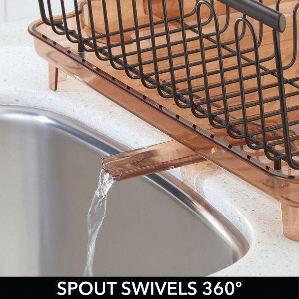 Large Metal Kitchen Sink Dish Drying Rack with Swivel Spout