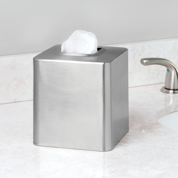 Metal Square Facial Tissue Box Cover - Brushed Steel