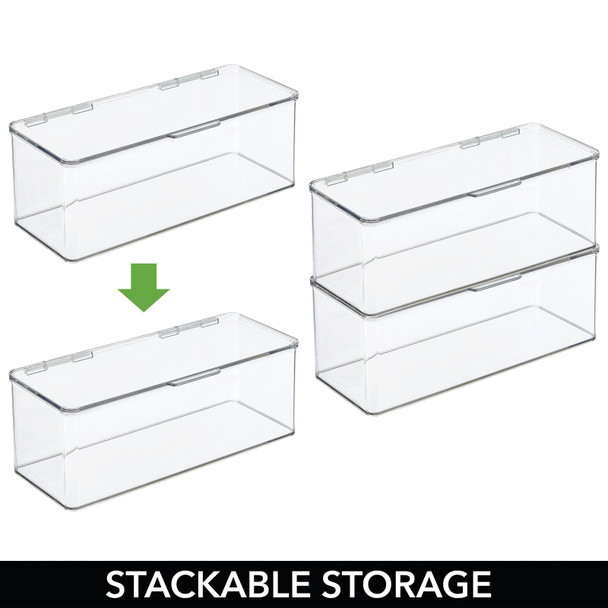 "Long Plastic Stackable Toy Storage Bin - 5.75"" x 13.4"" x 5"""