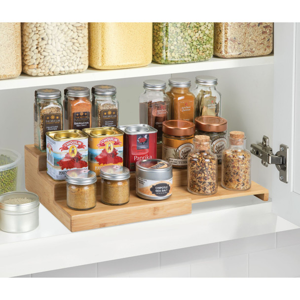Bamboo Expandable Kitchen Spice Rack Organizer
