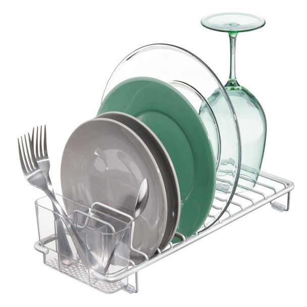 Compact Kitchen Sink Dish Rack and Drying Mat Combo in Silver/Gray - Set of 2