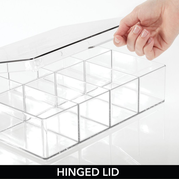 8 Compartment Plastic Divided Craft Storage Organizer Box with Hinged Lid - Pack of 2