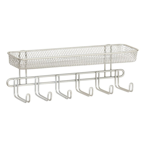 Metal Wall Mount Entryway Storage Basket Rack - Satin