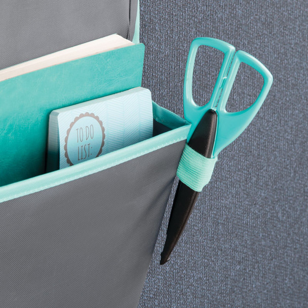 3 Pocket Fabric Hanging Cubicle Home Office Organizer - Gray/Teal