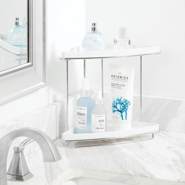 2 Tier Corner Bathroom Vanity Storage Shelf