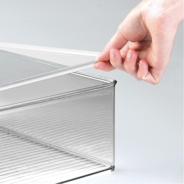 Plastic Stackable Toy Storage Box with Lid - Clear/Smoke Gray