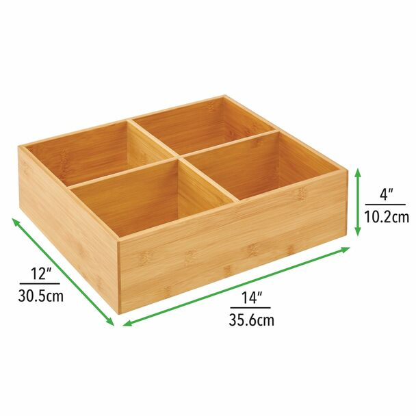 "4 Section Divided Bamboo Kitchen Bin - 14"" x 12"" x 4"""