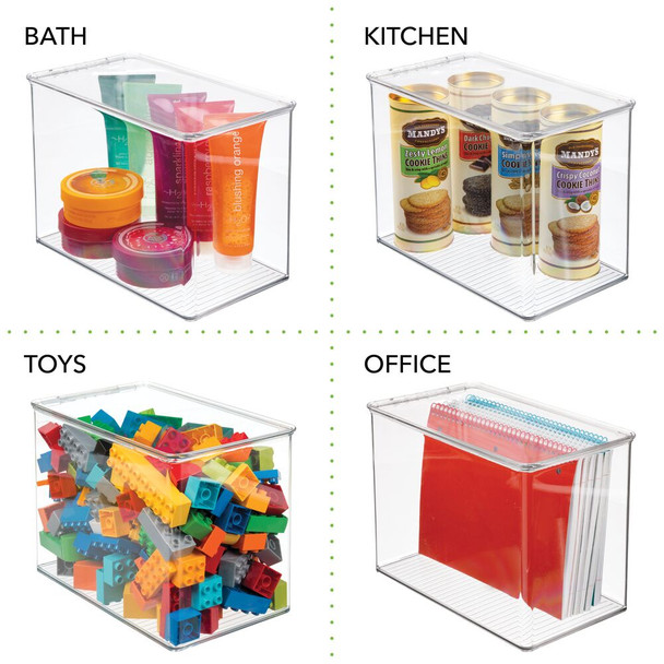 Clear Plastic Pantry Storage Box with Hinged Lid - Pack of 2