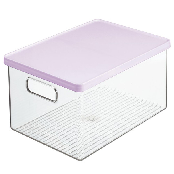 Plastic Toy Storage Bins with Multicolored Lids