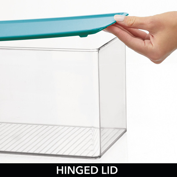 Clear Plastic Bathroom Storage Containers with Hinged Lid