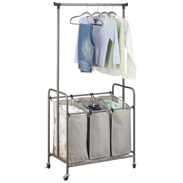 3 Compartment Rolling Laundry Hamper