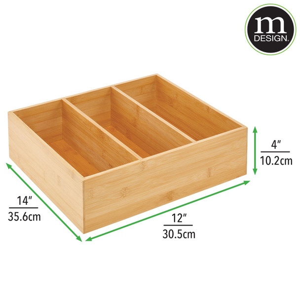 "3 Section Divided Bamboo Kitchen Bin - 14"" x 12"" x 4"""