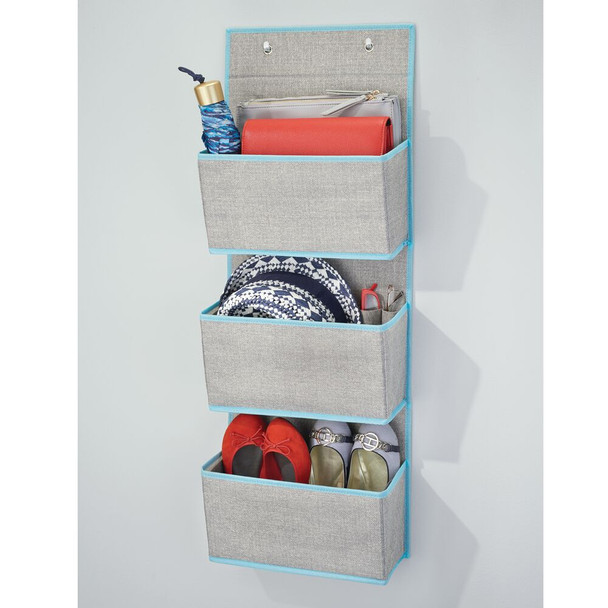 3 Pocket Hanging Fabric Organizer in Gray/Teal - Pack of 2