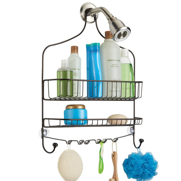 Wide Metal Shower Caddy with Hooks