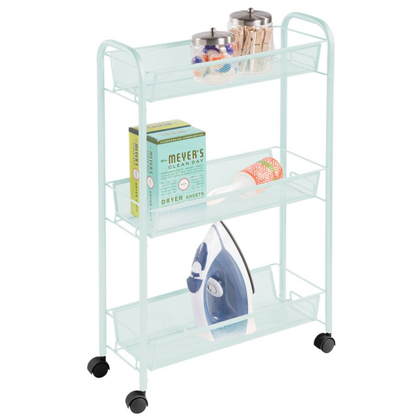 3 Tier Rolling Laundry Cart with Mesh Baskets - Pack of 2