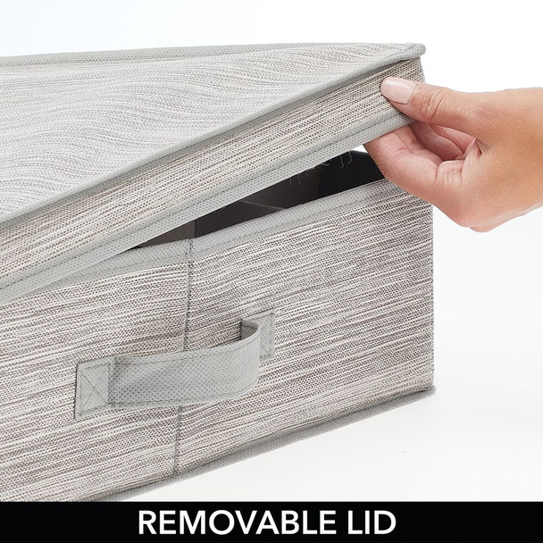 Fabric Closet Stripe Underbed Storage Box with Dividers and Handles